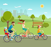 Young Father, mother, daughter and son ride the bike in the park. Active family riding on bicycles in the park. Flat vector illustration