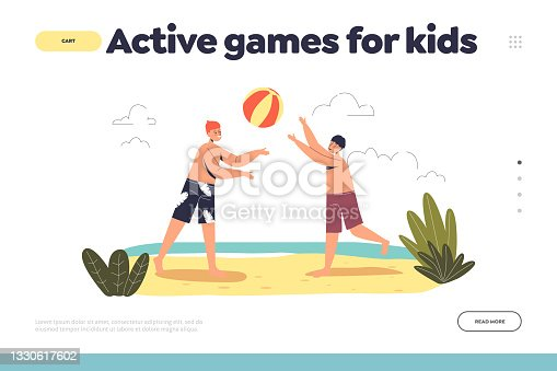 Active games for kids concept of landing page with children playing volleyball on beach
