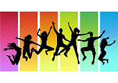 A group of young adults jumping! All people silhouettes are individual objects. Vector Illustration.