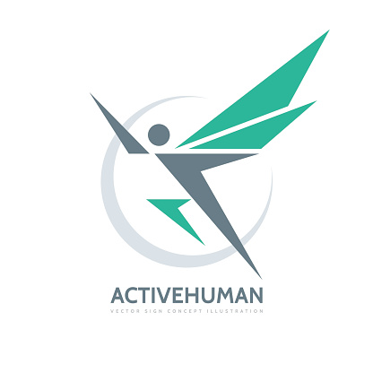 Active human character - vector business logo template concept illustration. Abstract man with wings.