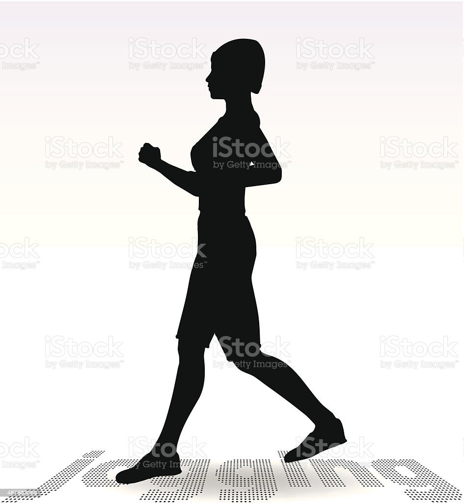 Active Jogging Girl or Woman Silhouette royalty-free active jogging girl or woman silhouette stock vector art & more images of activity