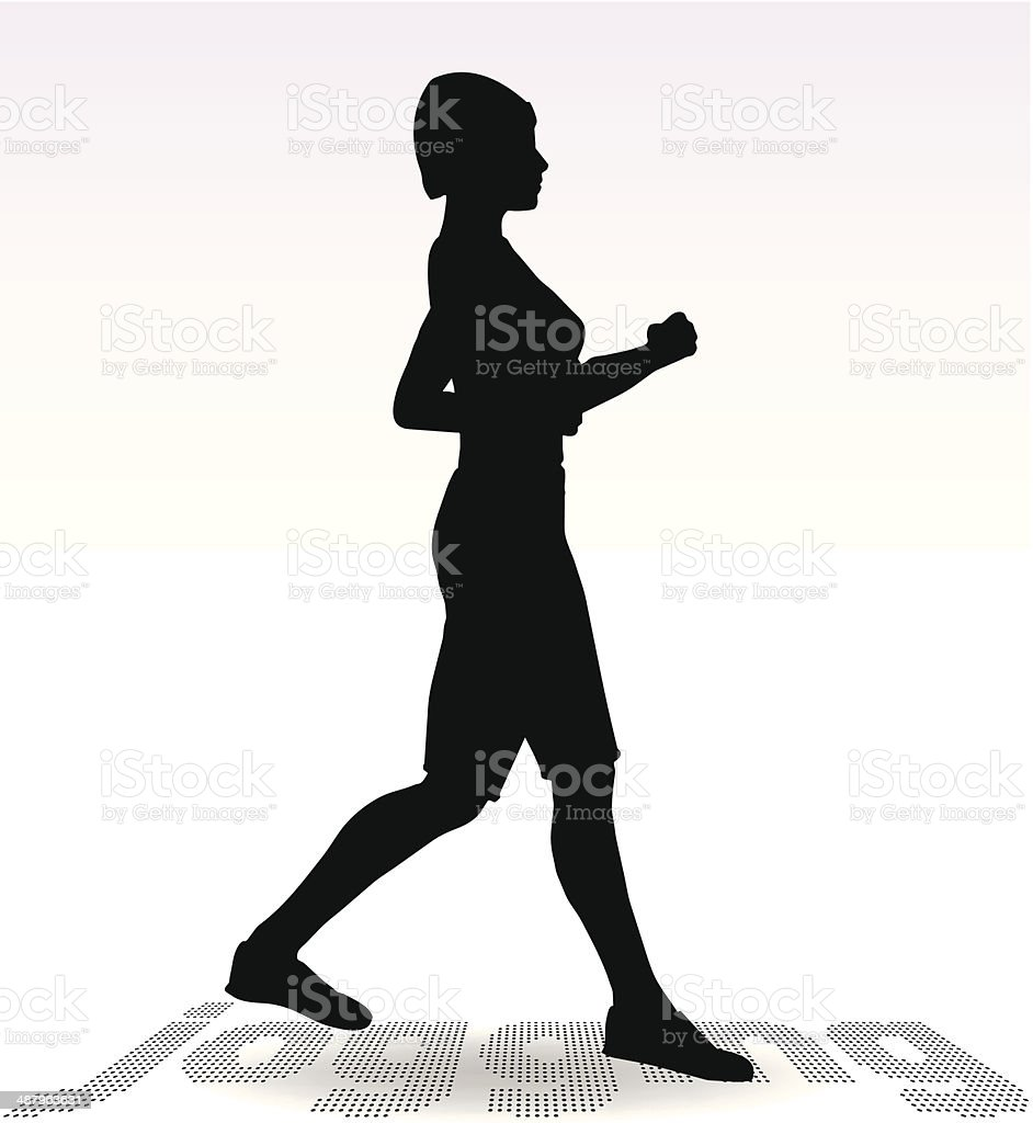 Active Jogging Girl or Woman Silhouette royalty-free stock vector art