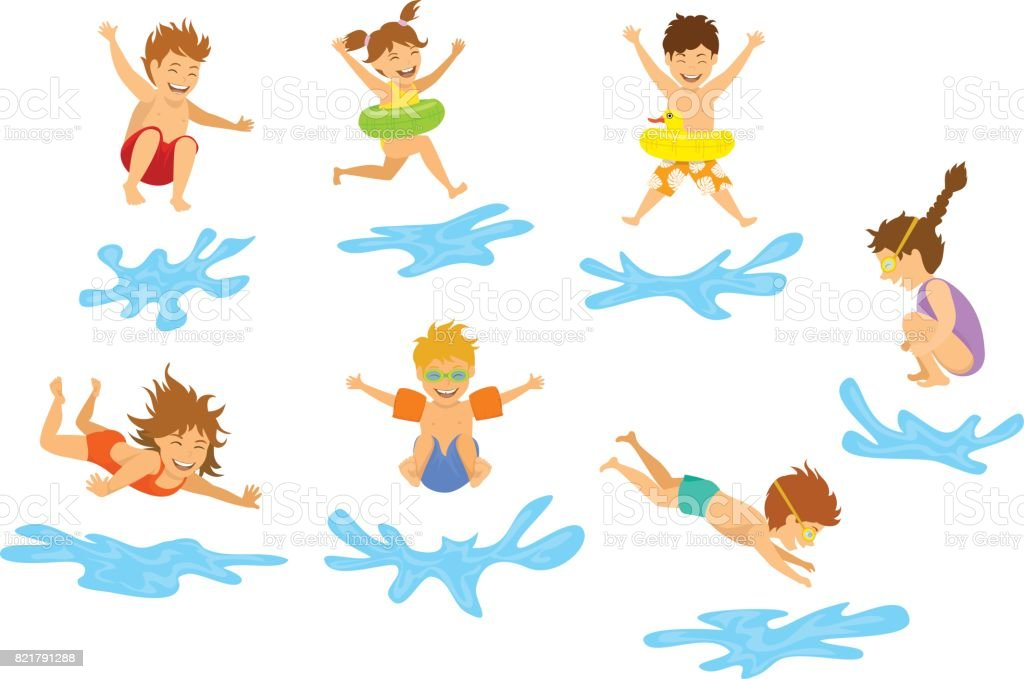 active kids children, boys and girls diving jumping into swimming pool water isolated vector art illustration