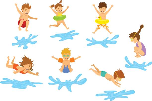 active kids children, boys and girls diving jumping into swimming pool water isolated active kids children, boys and girls diving jumping into swimming pool water isolated diving into water stock illustrations