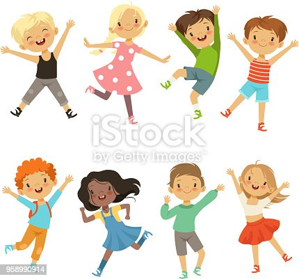 Active kids in different action poses. Vector illustrations. Young boy and girl happiness, active jump and cheerful