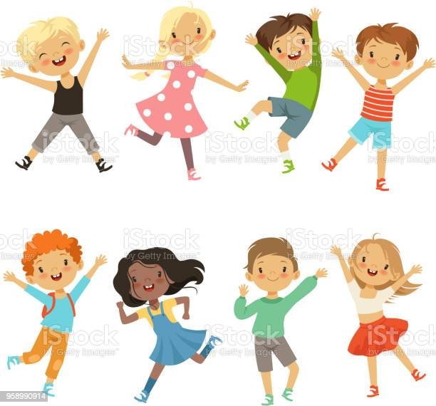 Active kids in different action poses vector illustrations vector id958990914?b=1&k=6&m=958990914&s=612x612&h=8lhae89bpbwp519z2v7mpt8olk6smam2yajcubhysri=