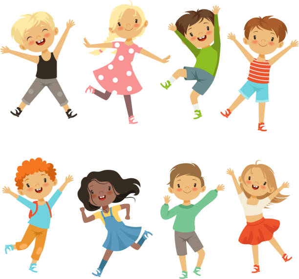 Active kids in different action poses. Vector illustrations Active kids in different action poses. Vector illustrations. Young boy and girl happiness, active jump and cheerful girls stock illustrations