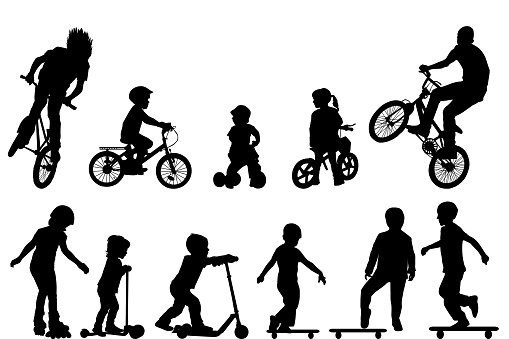 Active kids silhouettes
