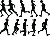 A collection of active children silhouettes.