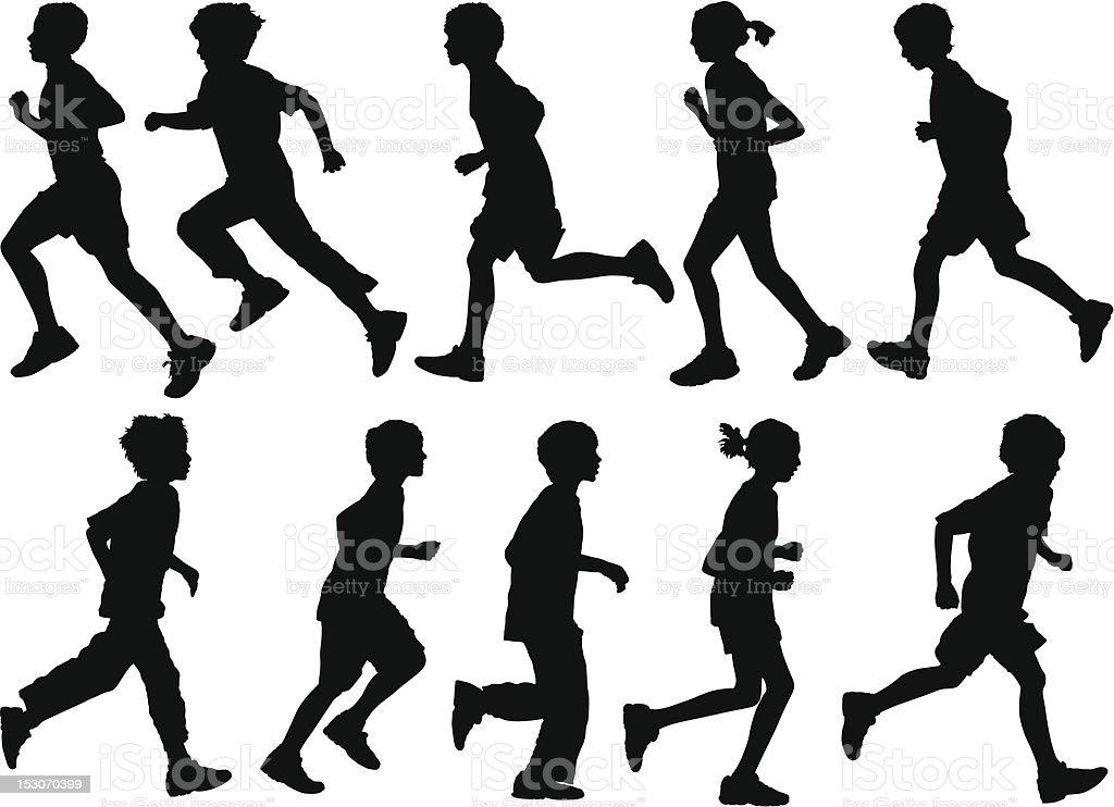 Active Kids vector art illustration