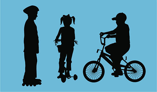 Active Kids ( Vector ) Silhouette. svg stock illustrations