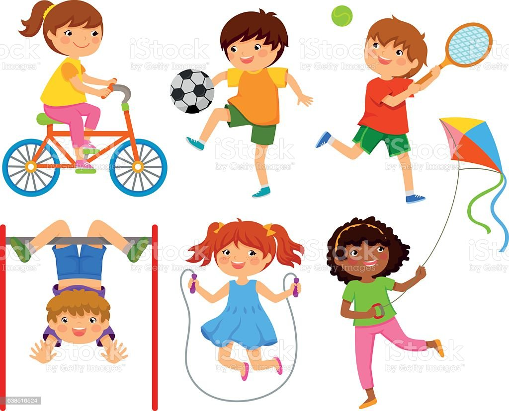 active kids vector art illustration