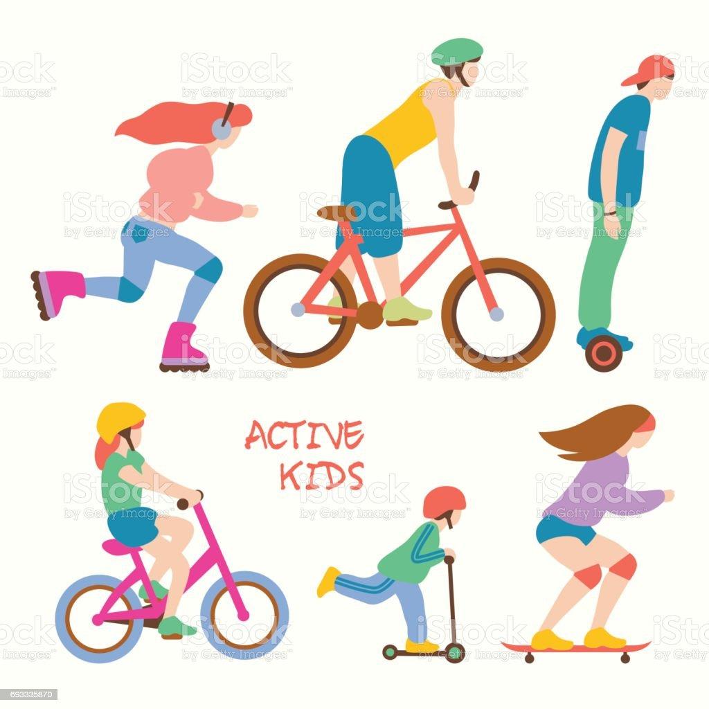 Active kids vector illustration vector art illustration