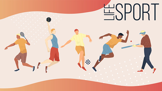 Active Kinds Of Sports Concept. Group Of People Performing Sports Activities Outdoors. Men And Women Play Basketball Football, Golf, Tennis, Baseball And Run Sprint. Cartoon Flat Vector Illustration