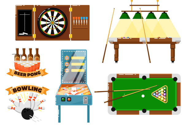 stockillustraties, clipart, cartoons en iconen met active leisure and sports game set - beirut