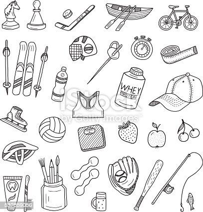 Active Lifestyle Doodles Set