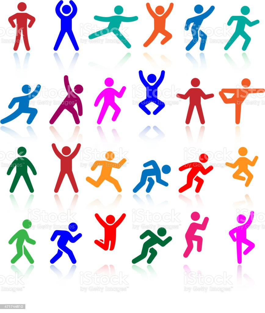 Active lifestyle people and vitality vector icon set vector art illustration