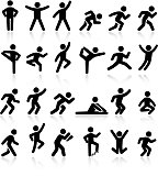 Active lifestyle people and vitality vector icon set