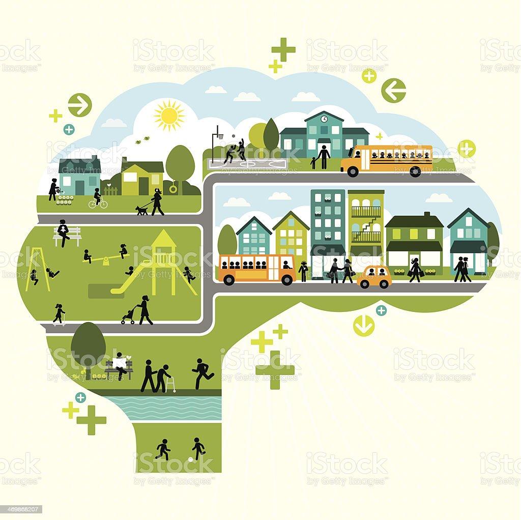 Active Lifestyle Thinking vector art illustration