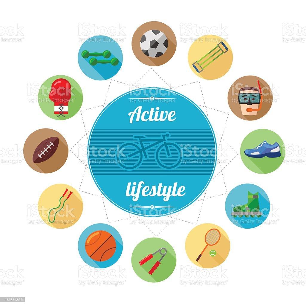 Active lifestyle vector art illustration