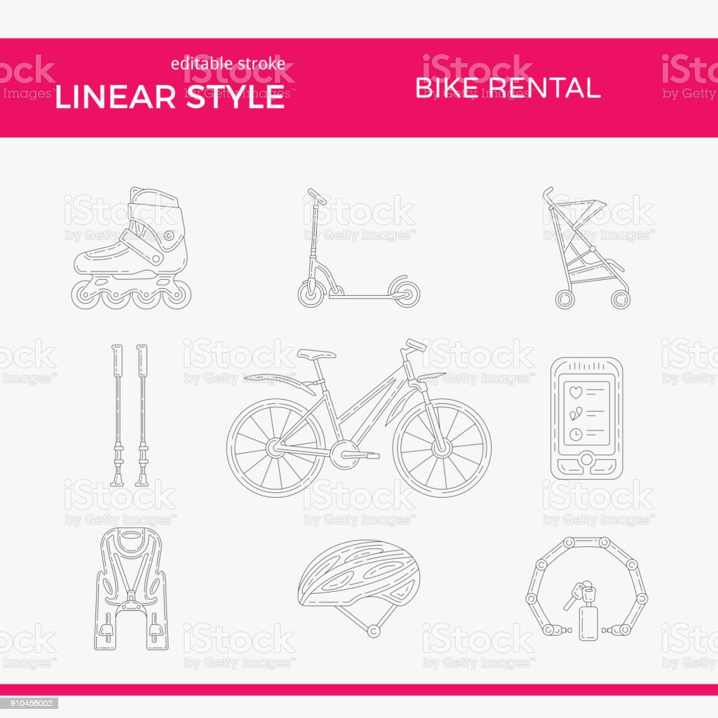 Active Lifestyle Vector Outline Icon Set vector art illustration