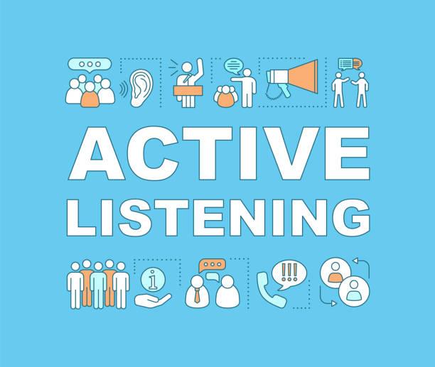 bildbanksillustrationer, clip art samt tecknat material och ikoner med aktivt lyssnande ord koncept banner - listen
