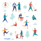 Active man and woman with children in the park. Outdoor workout. Group people characters doing different activities. Flat cartoon vector illustration.