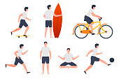 Vector set of man in different summer activities - skate, running, yoga, football, surfing, cycling.