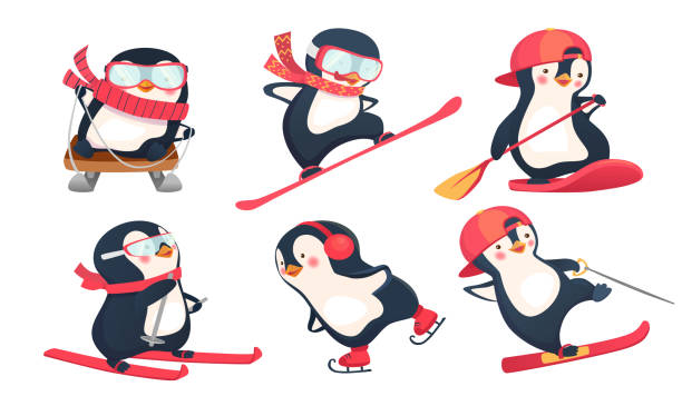 aktive pinguine in winter- und sommer-set - pinguin stock-grafiken, -clipart, -cartoons und -symbole