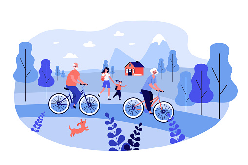 Active people cycling and walking outdoors