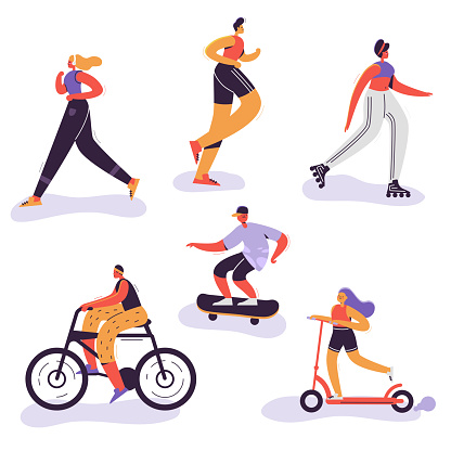 Active People Exercising. Outdoor Activities Running Woman, Girl Riding Bicycle, Man Run Marathon. Characters Doing Sportive Exercises. Vector illustration