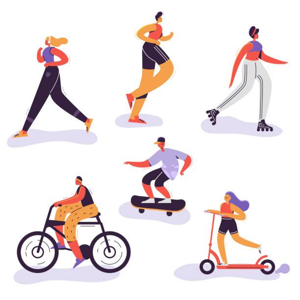 運動活発な人。女性、自転車に乗る女の子を実行しての野外活動は、実行マラソンを男します。文字は陽気な演習を行います。ベクトル図 - スケートボード点のイラスト素材/クリップアート素材/マンガ素材/アイコン素材