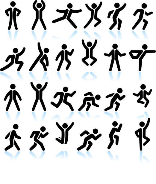 aktive menschen gesundes leben & schwarz-weiß-vektor icon-set - spagat stock-grafiken, -clipart, -cartoons und -symbole