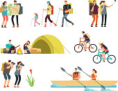 Active people hikers. Cartoon travelling family outdoor. Hiking and trekking tourists vector characters isolated. Illustration of family travel, trekking and adventure