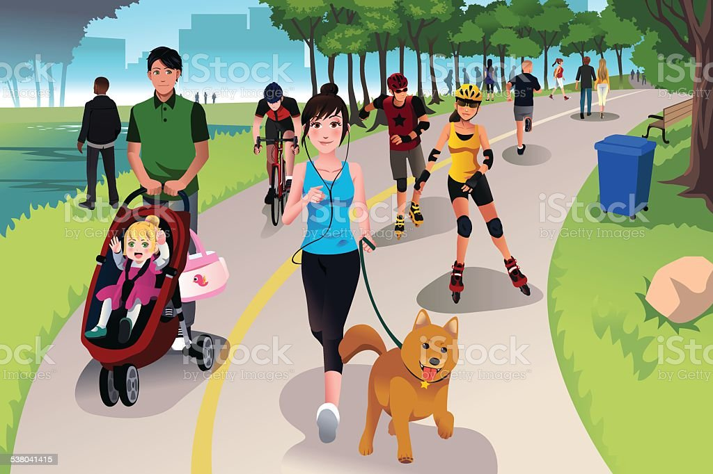 Active people in a park vector art illustration