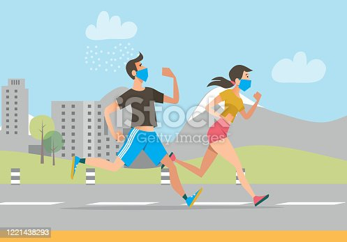 istock Active people in face masks running outdoors 1221438293