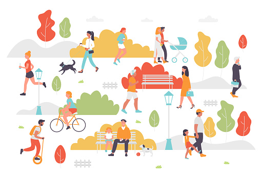 Active people in summer park vector illustration, cartoon flat couple characters or family with kid walking cycling, sitting on bench, playing and jogging