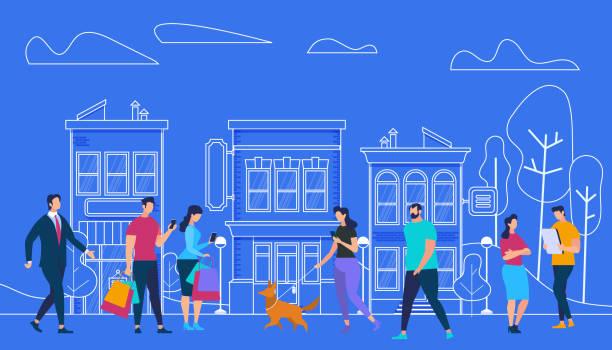 illustrazioni stock, clip art, cartoni animati e icone di tendenza di active people lifestyle. city view and houses - city walking background