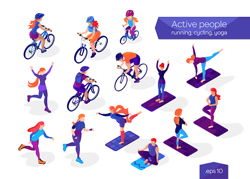 Active people on a white background. Multi colored characters in isometric flat style. Cycling, running and yoga. Healthy lifestyle. Women, men and child making sport exercises