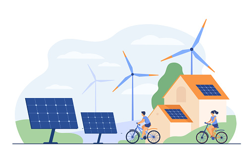 Active people on bikes, windmills and house with solar panel