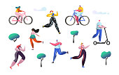 Active people outdoor in the park. Man and woman characters riding bicycle. Running girl healthy lifestyle, roller skates, fitness, jogging. Vector illustration