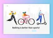 Active people sports landing page template. Happy characters riding bicycle, running, healthy lifestyle concept for website or web page. Easy edit. Vector illustration