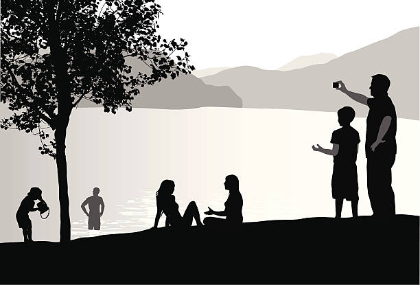 Active People Vector Silhouette A-Digit wading stock illustrations