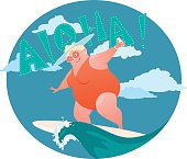 Happy confident overweight lady in a swimsuit riding a surf board, vector illustration, EPS 8, no transparencies