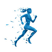 Active running woman vector illustration. Energy jogging design