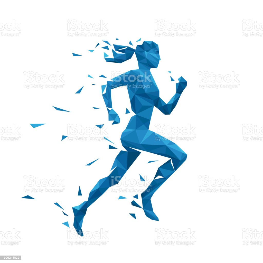 Active running woman vector illustration. Energy jogging design vector art illustration