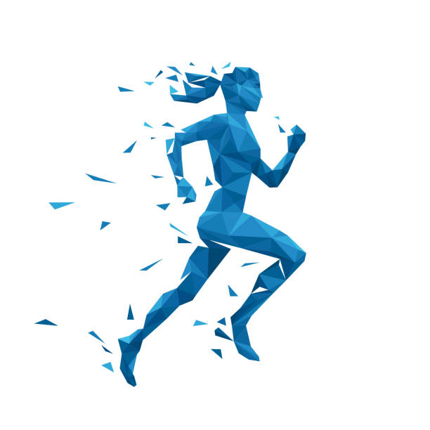active running woman vector illustration. energy jogging design - abstract silhouettes stock illustrations