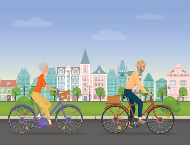 active senior character, age travelers. old age retired tourists couple. elderly people riding on a bicycle near old city park. cartoon vector illustration. - old man on bike stock illustrations, clip art, cartoons, & icons
