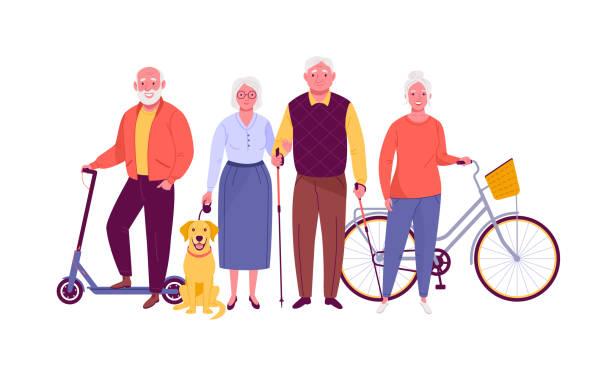 ilustrações, clipart, desenhos animados e ícones de idosos activos. - idoso