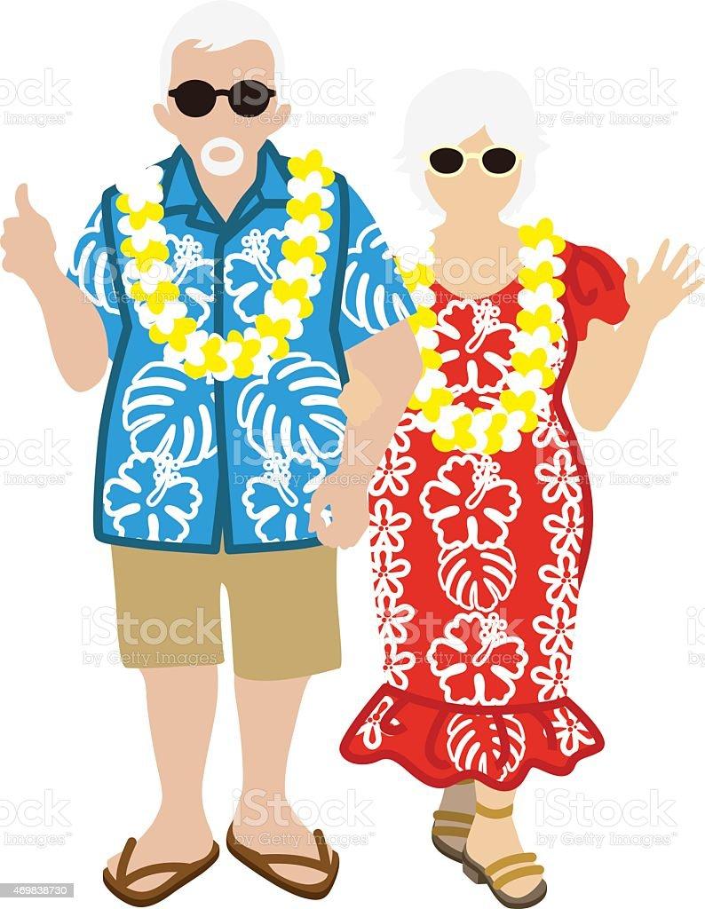 Active Senior Couple, Hawaiian Tourist Isolated vector art illustration